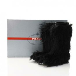 PRADA Milano Black Faux Fur Leather Trim Winter Snow Boots